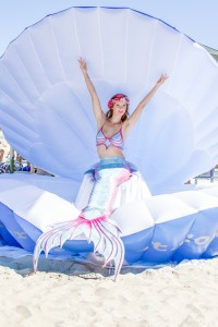 Kat in her Mermaid Sea Shell performing at Hillarys in Perth, Australia