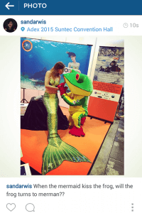 Mermaid Kat gets a kiss of a frog at ADEX