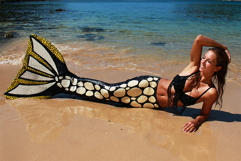 Mermaid Kat in her clown trigger fish mermaid tail in Thailand