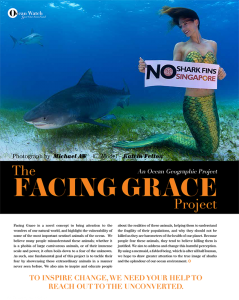 Mermaid Kat swims with tiger sharks for Facing Grace Campaign