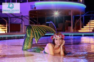 Perth Mermaid Kat promotes Asian Cruise Liner Dream Cruises
