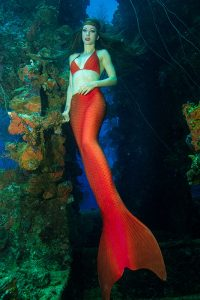 Perth Mermaid posing underwater at ship wreck at Truk Lagoon Micronesia