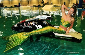 Professional Mermaid Kat performs at exhibition in Germany