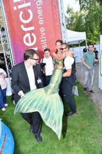 Professional mermaid entertainer Kat performing in Germany