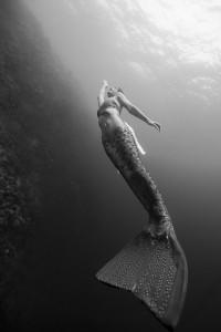 Underwater mermaid model Kat swimming underwater in the Philippines