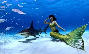 Underwater Mermaid Model Kat swimming with a hammer head shark