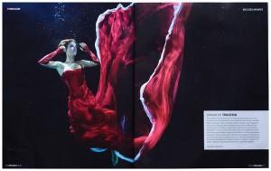 Underwater fashion model Kat in German Magazine