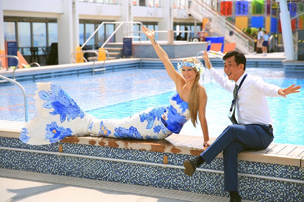Perth Mermaid Kat performing on Asian Cruise Ship Genting Dream