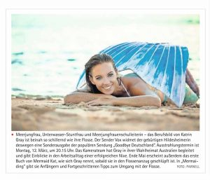 Professional Mermaid Kat from Perth in the news