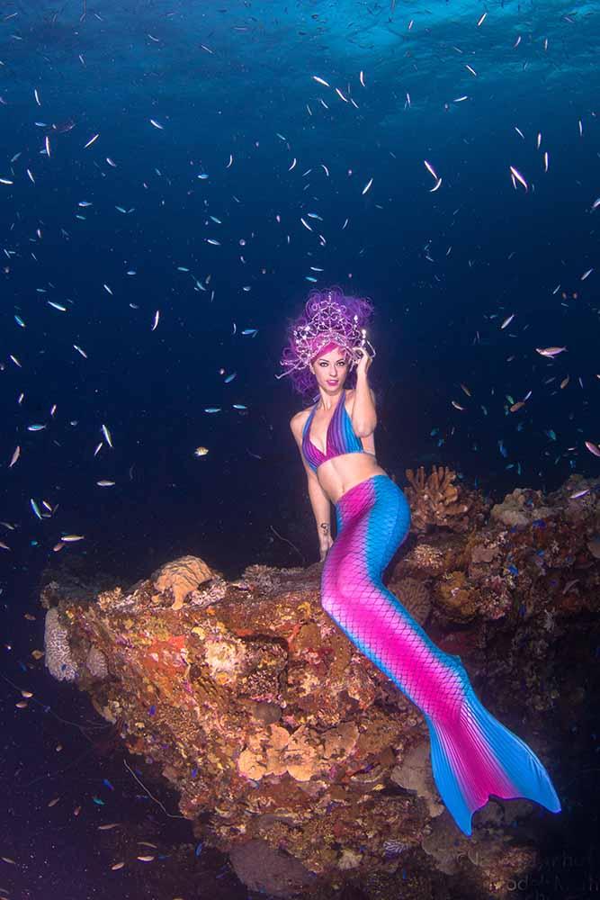 Professional mermaid underwater model at Truk Lagoon