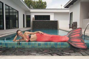 Mermaid Kat in her first mermaid tail