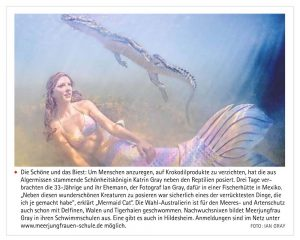 Professional mermaid swims with wild crocodiles
