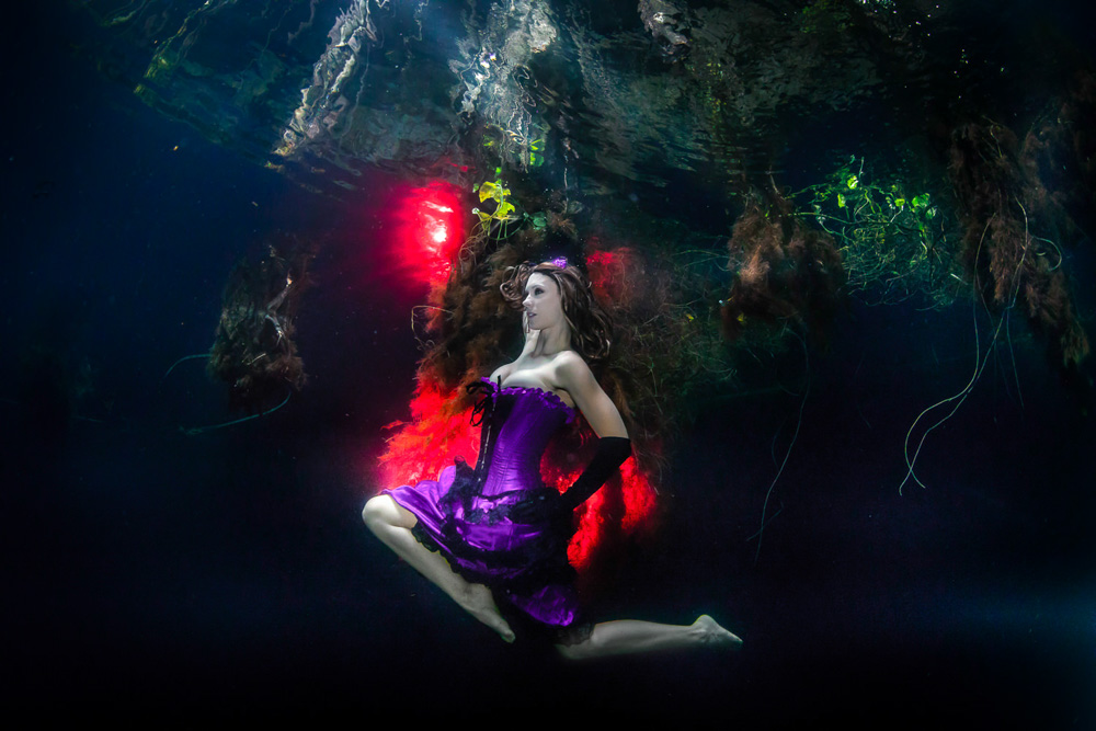 Burlesque photo shoot at Cenote in Tulum