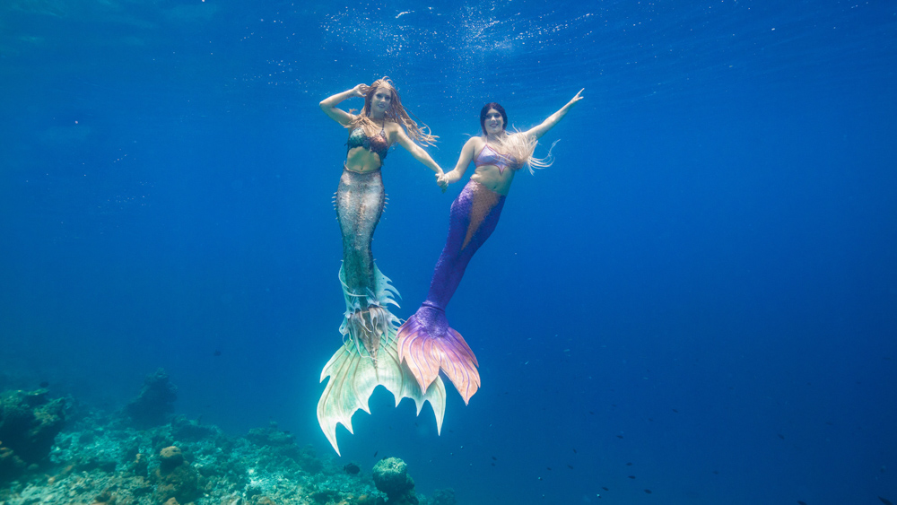 Mermaid sisters in the Maldives
