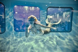 Professional mermaid avalabe to perform in underwater tank at your event