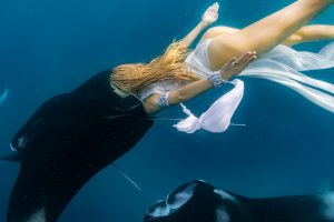 Freediver and Underwater Stuntwoman swims with manta rays