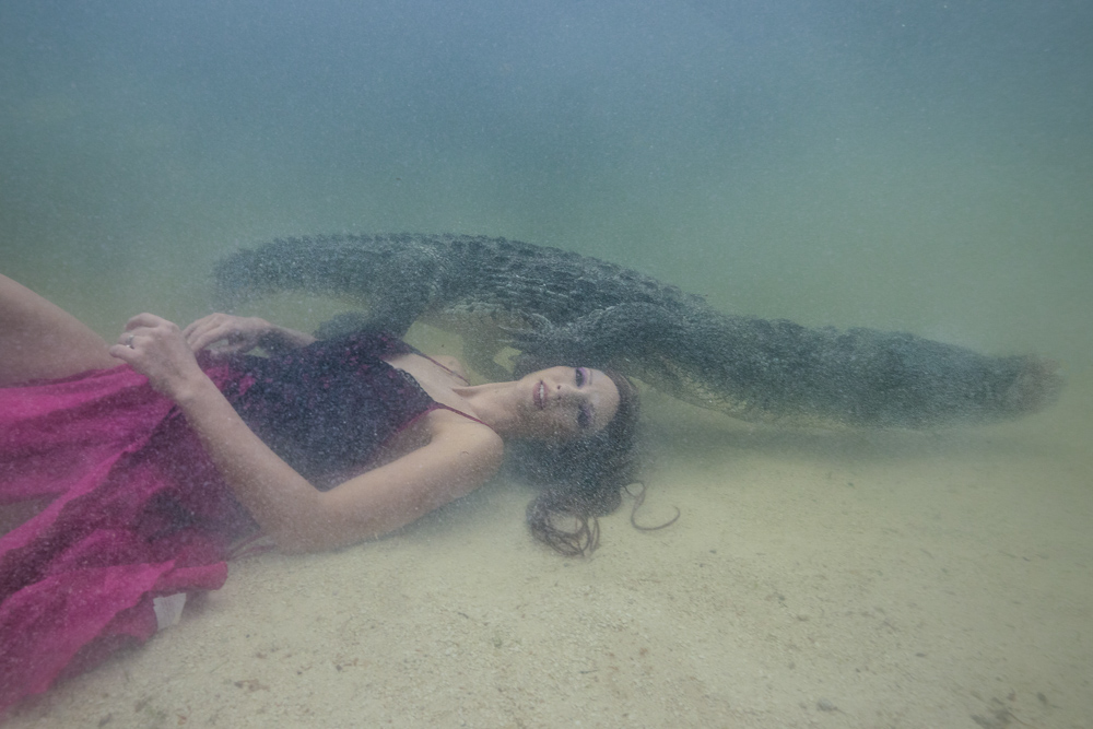 Underwater Stuntwoman Katrin Gray swims with crocodiles - Ian Gray Photography